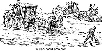 voiture, coureur, century), (eighteenth, au-dessus, engraving., vendange