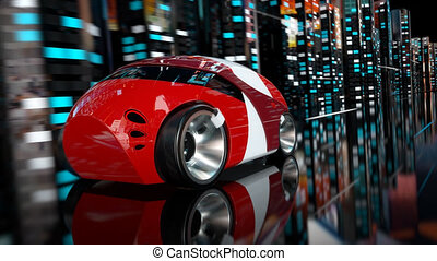 voiture courir, -, animation, 3d