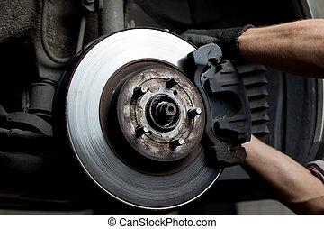 voiture, coussins, frein, mécanicien, réparation