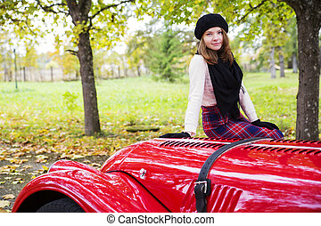 voiture, cowling, femme, jupe, rouges