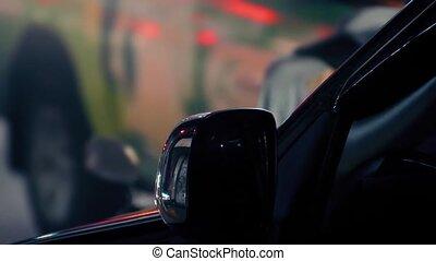 voiture, dépassement, trafic, nuit