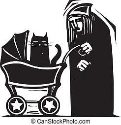 voiture d'enfant, dame, chat