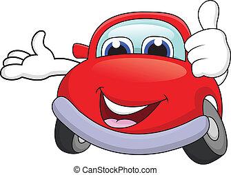 voiture, dessin animé, caractère, pouce haut