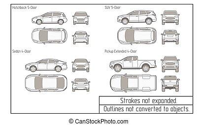 voiture, dessin, suv, objets, sedan, pas, converti, grands traits