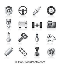 voiture, différent, parties, espèce, icônes
