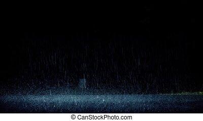 voiture, dramatique, par, conduit, pluie