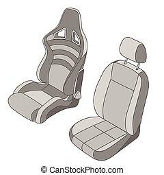voiture, ensemble, isolé, siège