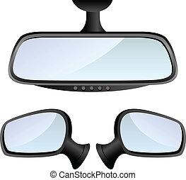 voiture, ensemble, miroir