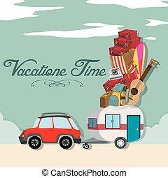 voiture, entiers, vacances, luggages, temps