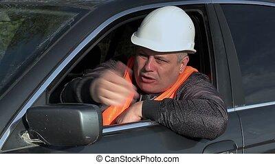 voiture, fâché, ouvrier, route