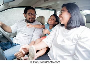 voiture, famille, conduite, vacances