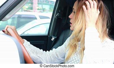 voiture., femme, chauffeur, accentué