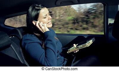 voiture, femme fâchée, business