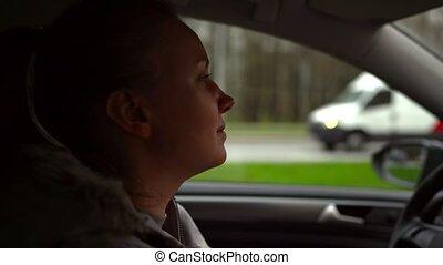 voiture., femme, heureux, portrait, conduite