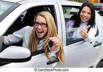 voiture, femmes, rental:, conduite, nouveau