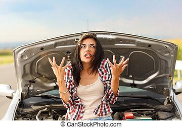 voiture, folie, dû, cassé