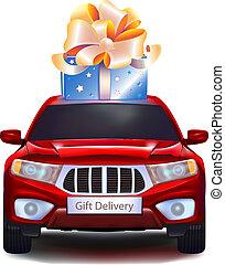 voiture, fond blanc, isolé, cadeau