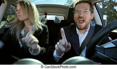 voiture, gens, deux, business, danse