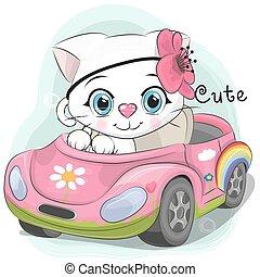 voiture, girl, chaton, va, mignon