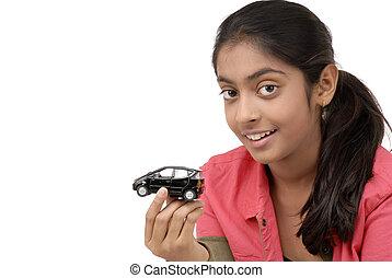 voiture, girl, jeune, tenue