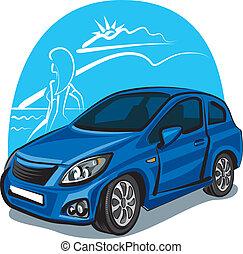 voiture, girl, moderne