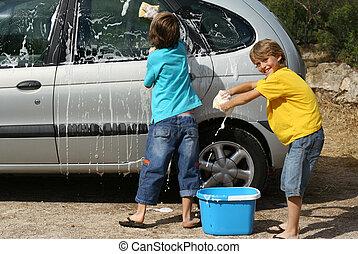 voiture, gosses, lavage, corvées