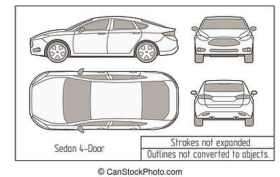 voiture, grands traits, objets, pas, dessin, converti, sedan, suv