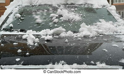 voiture, gros plan, pare-brise, chute neige, pendant
