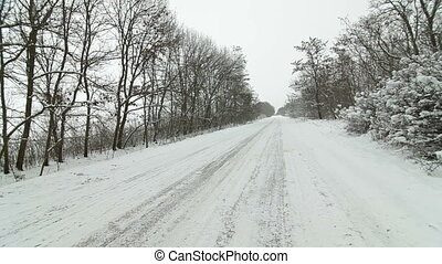 voiture, hiver, route, pays