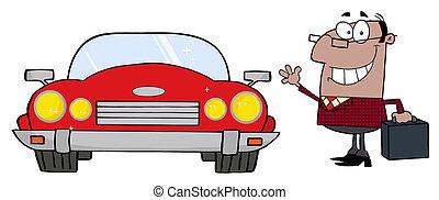 voiture, homme affaires, cabriolet