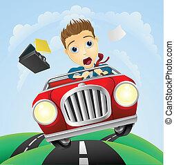 voiture, homme affaires, jeûne, jeune, classique, conduite