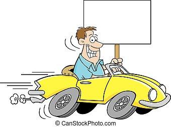 voiture, homme, dessin animé, conduite, holdi