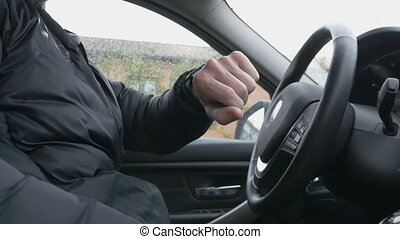 voiture, homme, montre, intelligent, utilisation