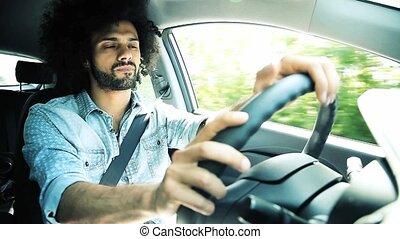 voiture, homme, triste, conduite, beau