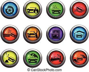 voiture, icônes, ensemble, assurance