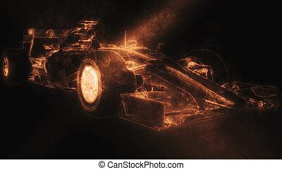 voiture, -, illustration, une, fumée, orange, formule