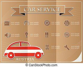 voiture, illustration, vecteur, drapeau, fait, service, autriche