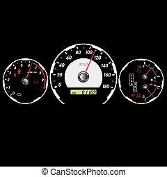 voiture, illustration, vecteur, tableau bord, compteur vitesse, night.