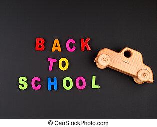 voiture, inscription, multi-coloré, lettres, école, bébé, noir, dos, bois, craie, plastique, planche