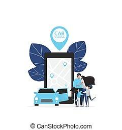 voiture, intelligent, bannière, service, location., partage, n'importe quel
