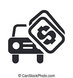 voiture, isolé, illustration, vente, unique, vecteur, icône