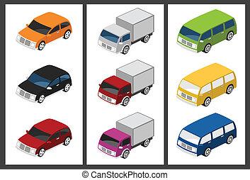 voiture, isométrique, ensemble