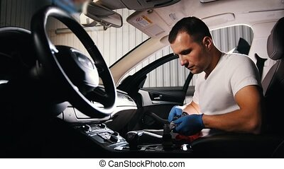 voiture, jeune, nettoyage, brosse, panneau, automatique, homme