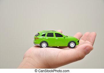 voiture, jouet, droit, vert, main