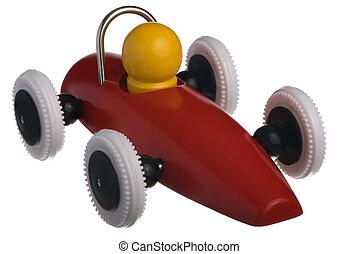 voiture, jouet enfant, rouges, course