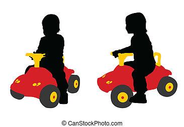 voiture, jouet, enfantqui commence à marcher, grand, sièges