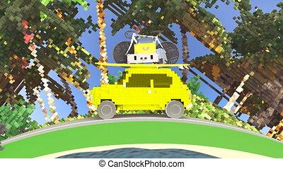 voiture jouet, fetes, aller, 4k, animation