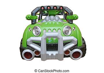 voiture, jouet, vert