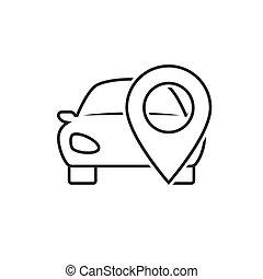 voiture, ligne, emplacement, icône