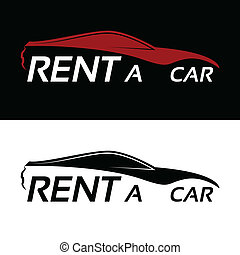 voiture, loyer, logo